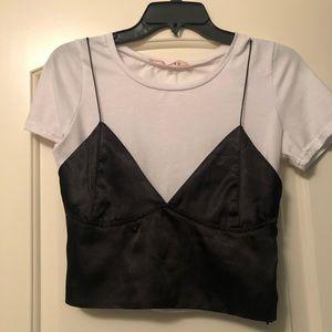 💥💥 White Crop Top w/ Black Bralette Overlay